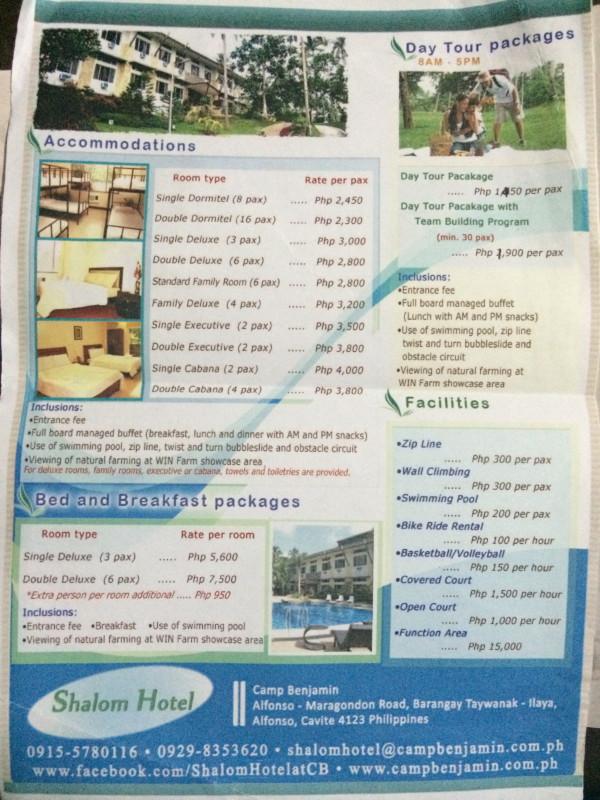 Camp Benjamin Pricing as of June 2015