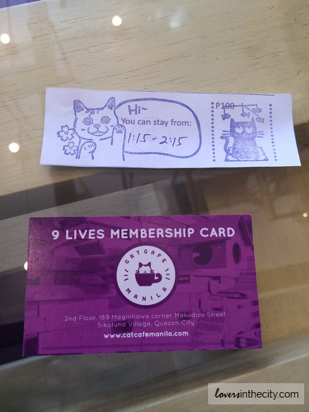 Cat Cafe Manila Ticket and Loyalty Card